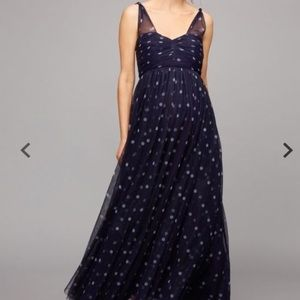 A Pea in the Pod navy polka dot dress